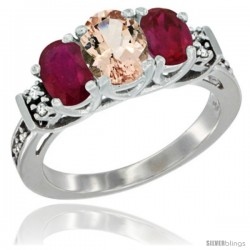 14K White Gold Natural Morganite & Ruby Ring 3-Stone Oval with Diamond Accent
