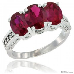 14K White Gold Natural Ruby Ring 3-Stone Oval 7x5 mm Diamond Accent