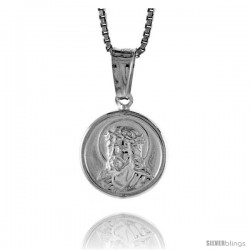 Sterling Silver Jesus Medal, Made in Italy. 1/2 in. (12 mm) in Diameter.