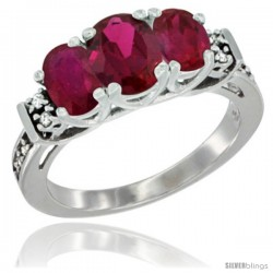 14K White Gold Natural High Quality Ruby Ring 3-Stone Oval with Diamond Accent
