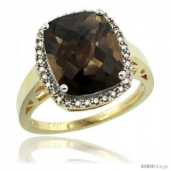 14k Yellow Gold Diamond Smoky Topaz Ring 5.17 ct Checkerboard Cut Cushion 12x10 mm, 1/2 in wide