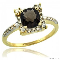 14k Yellow Gold Diamond Halo Smoky Topaz Ring 1.2 ct Checkerboard Cut Cushion 6 mm, 11/32 in wide