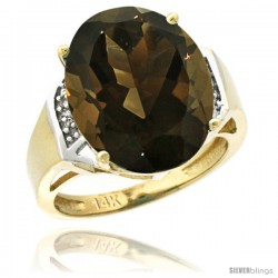 14k Yellow Gold Diamond Smoky Topaz Ring 9.7 ct Large Oval Stone 16x12 mm, 5/8 in wide