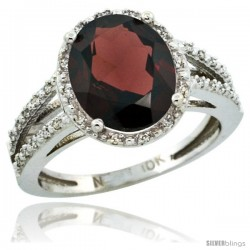 14k White Gold Diamond Halo Garnet Ring 2.85 Carat Oval Shape 11X9 mm, 7/16 in (11mm) wide