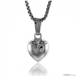 Sterling Silver Teeny Heart Pendant, Made in Italy. 5/16 in. (8 mm) Tall