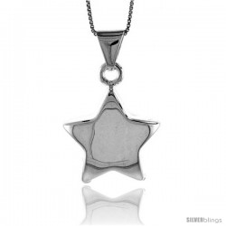Sterling Silver Large Star Pendant, Made in Italy. 1 1/16 in. (27 mm) Tall