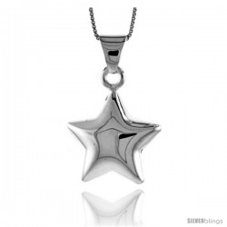 Sterling Silver Large Star Pendant, Made in Italy. 1 in. (25 mm) Tall