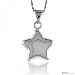 Sterling Silver Small Star Pendant, Made in Italy. 13/16 in. (20 mm) Tall