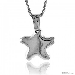 Sterling Silver Small Star Pendant, Made in Italy. 1/2 in. (13 mm) Tall