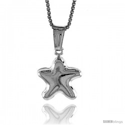 Sterling Silver Small Star Pendant, Made in Italy. 1/2 in. (13 mm) Tall -Style Iph127