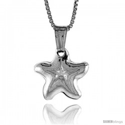 Sterling Silver Small Star Pendant, Made in Italy. 1/2 in. (13 mm) Tall -Style Iph128