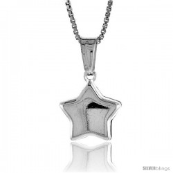 Sterling Silver Small Star Pendant, Made in Italy. 7/16 in. (11 mm) Tall