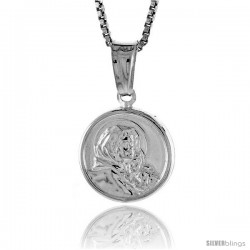 Sterling Silver Madonna & Child Medal, Made in Italy. 1/2 in. (12 mm) in Diameter.