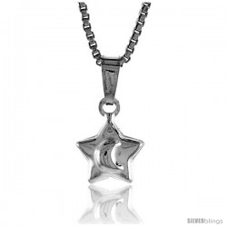 Sterling Silver Teeny Star Pendant, Made in Italy. 1/4 in. (7 mm) Tall -Style Iph133