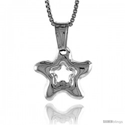 Sterling Silver Small Star with Cut Out Pendant, Made in Italy. 1/2 in. (13 mm) Tall