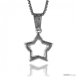 Sterling Silver Small Star with Cut Out Pendant, Made in Italy. 1/2 in. (12 mm) Tall