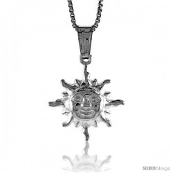 Sterling Silver Small Sun Pendant, Made in Italy. 5/8 in. (17 mm) Tall