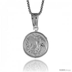Sterling Silver Nativity Pendant, Made in Italy. 1/2 in. (12 mm) in Diameter.