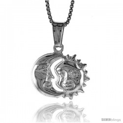 Sterling Silver Small Sun and Moon Pendant, Made in Italy. 1/2 in. (12 mm) Tall