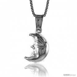 Sterling Silver Small Crescent Moon Pendant, Made in Italy. 1/2 in. (13 mm) Tall