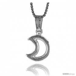 Sterling Silver Small Cut Out Crescent Moon Pendant, Made in Italy. 1/2 in. (12 mm) Tall