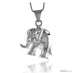 Sterling Silver Large Elephant Pendant, Made in Italy. 1 in. (26 mm) Tall