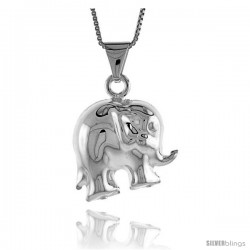 Sterling Silver Large Elephant Pendant, Made in Italy. 13/16 in. (20 mm) Tall
