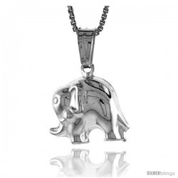 Sterling Silver Small Elephant Pendant, Made in Italy. 1/2 in. (13 mm) Tall