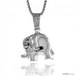 Sterling Silver Small Elephant Pendant, Made in Italy. 1/2 in. (13 mm) Tall -Style Iph159