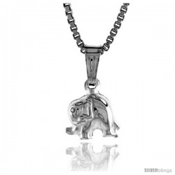 Sterling Silver Teeny Elephant Pendant, Made in Italy. 1/4 in. (7 mm) Tall