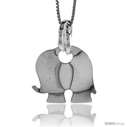 Sterling Silver Large Elephant Pendant, Made in Italy. 13/16 in. (21 mm) Tall
