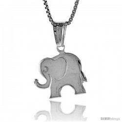 Sterling Silver Small Elephant Pendant, Made in Italy. 1/2 in. (12 mm) Tall