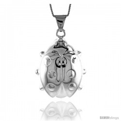 Sterling Silver Extra Large Ladybug Pendant, Made in Italy. 1 1/2 in. (39 mm) Tall