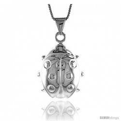 Sterling Silver Large Ladybug Pendant, Made in Italy. 1 1/8 in. (28 mm) Tall
