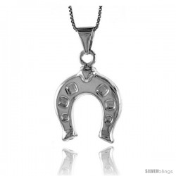 Sterling Silver Large Horseshoe Pendant, Made in Italy. 1 in. (25 mm) Tall -Style Iph168