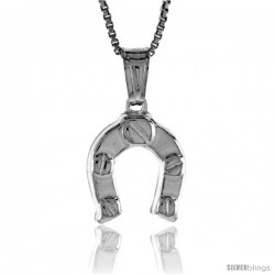 Sterling Silver Small Horseshoe Pendant, Made in Italy. 1/2 in. (13 mm) Tall