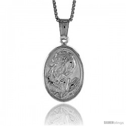 Sterling Silver A Praying Pendant, Made in Italy. 11/16 in. (18 mm) Tall