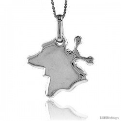 Sterling Silver Large Butterfly Pendant, Made in Italy. 15/16 in. (24 mm) Tall