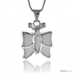 Sterling Silver Large Butterfly Pendant, Made in Italy. 1 1/16 in. (27 mm) Tall