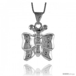 Sterling Silver Large Butterfly Pendant, Made in Italy. 1 in. (25 mm) Tall