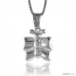 Sterling Silver Small Butterfly Pendant, Made in Italy. 9/16 in. (14 mm) Tall