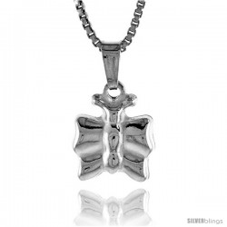Sterling Silver Teeny Butterfly Pendant, Made in Italy. 3/8 in. (10 mm) Tall