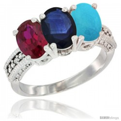 10K White Gold Natural Ruby, Blue Sapphire & Turquoise Ring 3-Stone Oval 7x5 mm Diamond Accent