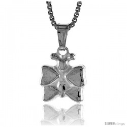 Sterling Silver Teeny Butterfly Pendant, Made in Italy. 3/8 in. (10 mm) Tall -Style Iph175