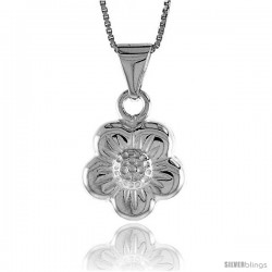Sterling Silver Flower Pendant, Made in Italy. 11/16 in. (17 mm) Tall