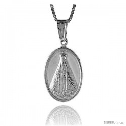 Sterling Silver Our Lady of Fatima Medal, Made in Italy. 11/16 in. (18 mm) Tall