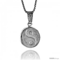 Sterling Silver Small Ying Yang Pendant, Made in Italy. 1/2 in. (13 mm) in Diameter.