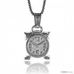 Sterling Silver Small Alarm Clock Pendant, Made in Italy. 9/16 in. (14 mm) Tall