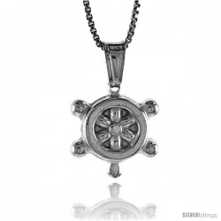 Sterling Silver Ship's Stirring Wheel Pendant, Made in Italy. 9/16 in. (14 mm) Tall