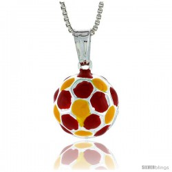 Sterling Silver Small Enamel Soccer Ball Pendant, Made in Italy. 1/2 in. (13 mm) in Diameter.
